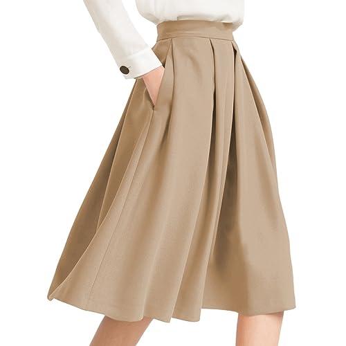 9bfc6cc73 Yige Women's High Waist Flared Skirt Pleated Midi Skirt with Pocket