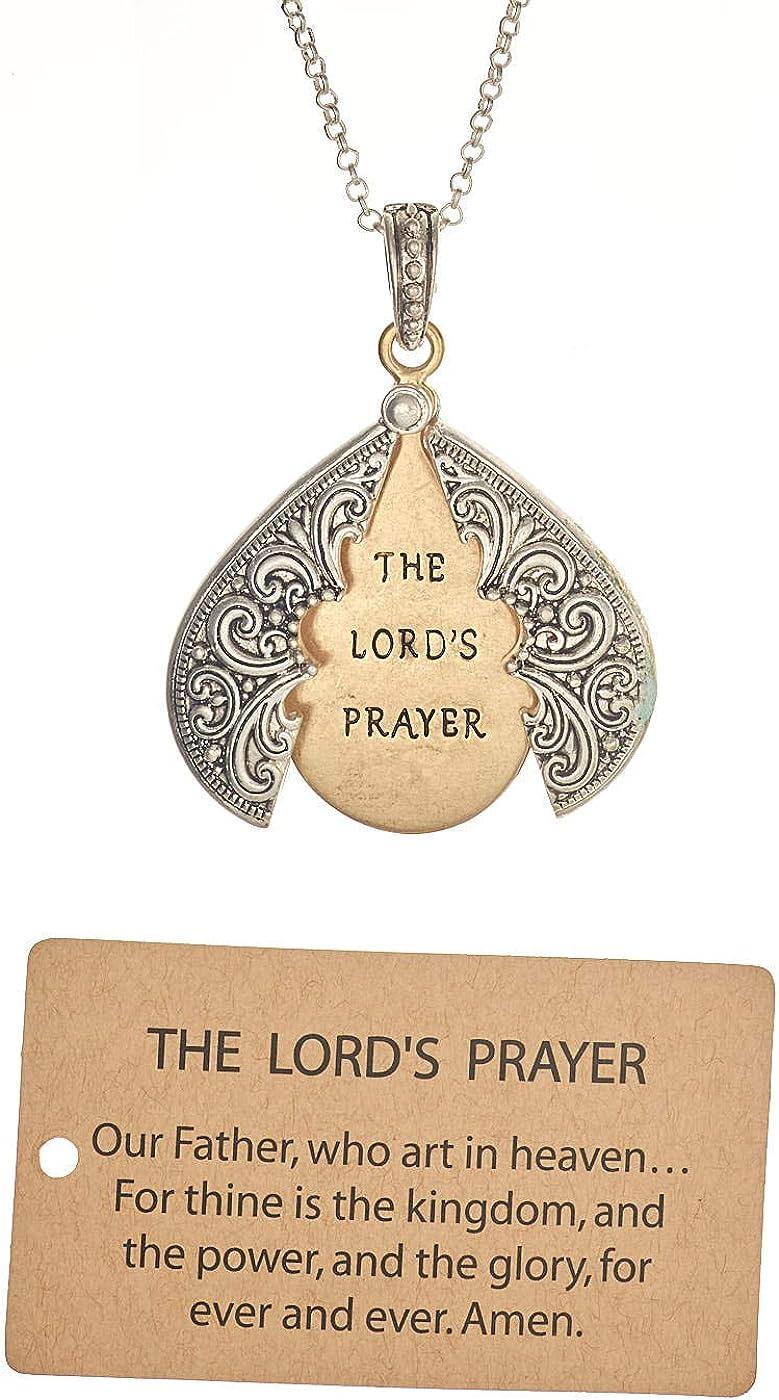 Jewelry Nexus The Lord's Prayer Max 40% OFF Teardrop Pendan Message Engraved Chicago Mall