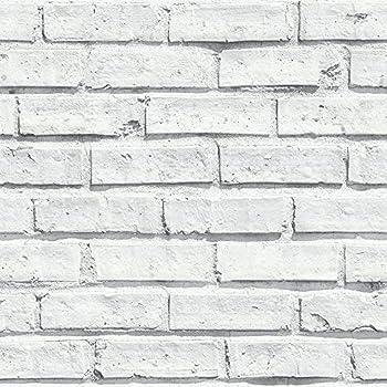 Arthouse 696800 Papel Pintado Ladrillo, Blanco, 53 cm x 10.05 m