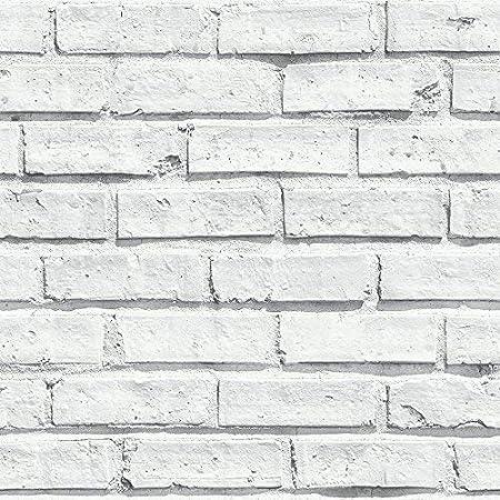 Arthouse 696800 White Wallpaper, Brick, 53 cm x 10.05 m, 623004/696800