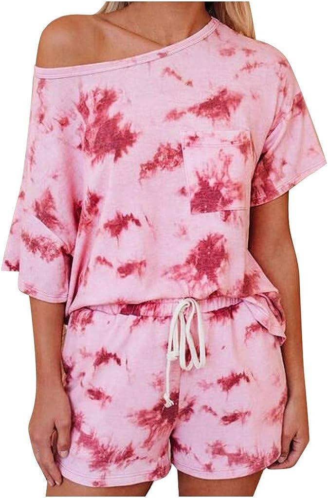 Fashion Casual Womens Tie-dye Pocket Short Sleeve Pajama Set Night Lounge Top Short Sleepwear 2020 Clothing