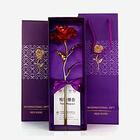 International Gift Red Rose Flower With Golden Leaf With Luxury Gift Box And Beautiful Carry Bag Great Gift Idea for Your Wife, Girlfriend Or Husband