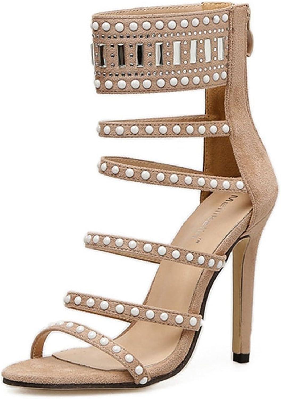 GIY Women's Strappy High Heel Sandals Open Toe Ankle Strap Stilettos Sandal Pump Heel Dress shoes
