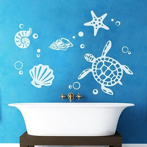 MairGwall Sea Turtle Decal Ocean Theme Vinyl Shells Decor Starfish Art Mural 42 H X58 W White