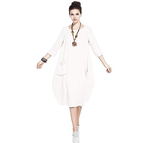 57d8c4321a3 Anysize Soft Linen Cotton Lantern Loose Dress Spring Summer Fall Plus Size  Clothing Y19