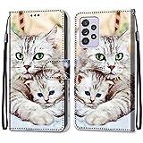 i-Case Funda para Samsung Galaxy A52 5G Protectora Piel PU Case Carcasa Patrón Caja del Teléfono...