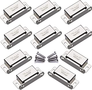 Magnetic Door Catch Jiayi 10 Pack Cabinet Door Latch 20 lbs Cabinet Door Magnet Stainless Steel RV Cabinet Latches and Catches for Kitchen Cupboard Latch Closure Strong Drawer Magnet Catch Closer