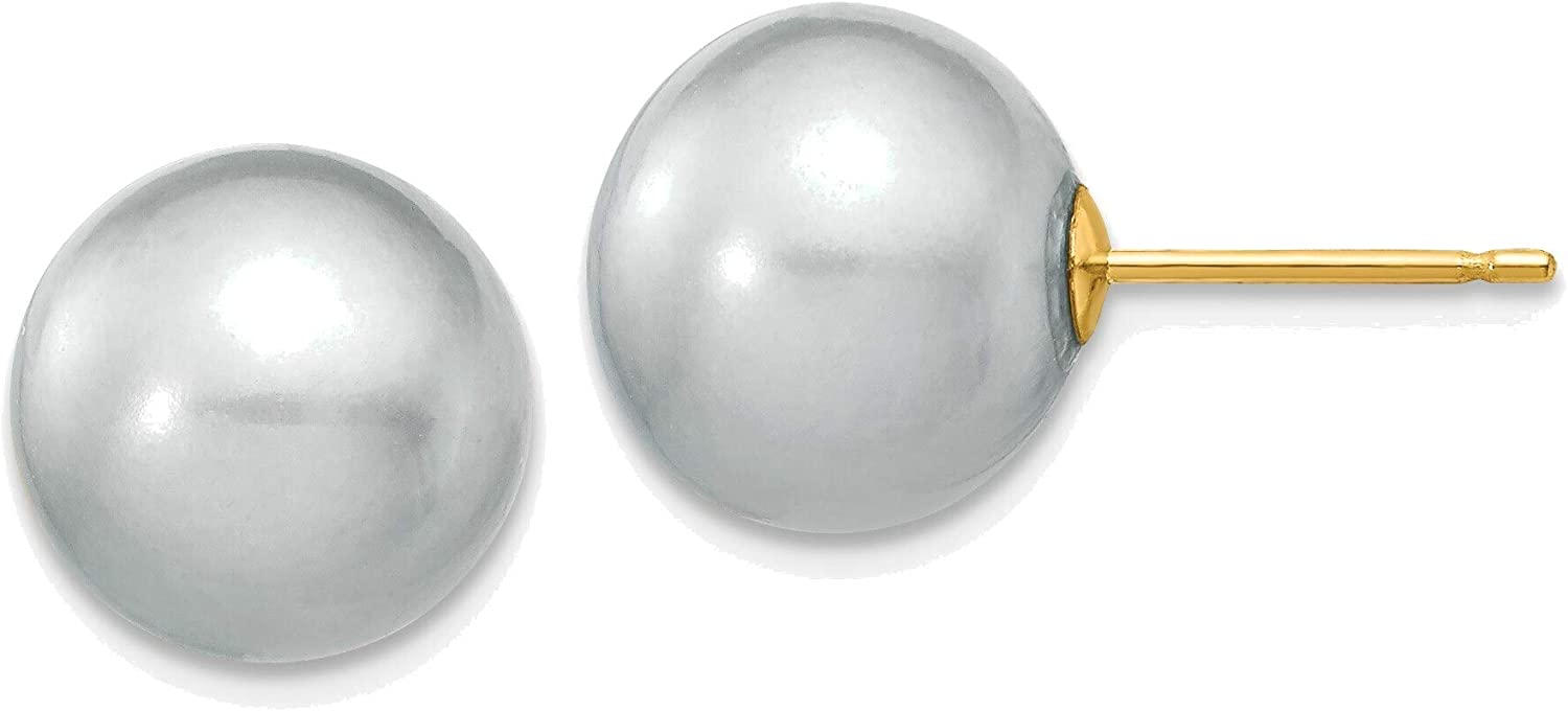 10-11mm Grey Round Freshwater Cultured Pearl Stud Post Earrings in 14K Yellow Gold