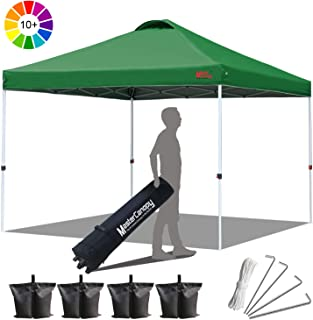 MasterCanopy Compact Canopy 10x10 Ez Pop up Canopy Portable Shade Instant Folding Better Air Circulation Canopy with Wheeled Bag,x4 Canopy Sandbags,x4 Tent Stakes (Forest Green)
