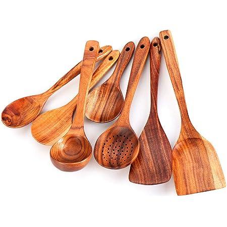 Lot de 7 spatules en bois de teck naturel