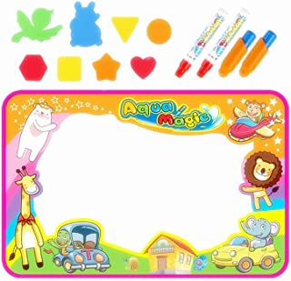 HOWADE Large Water Drawing Mat,Magic Doodle Pad 34.5 x 22.5 inch with 4 Water Pens and 8 Drawing Molds Kids Hand Writing E...