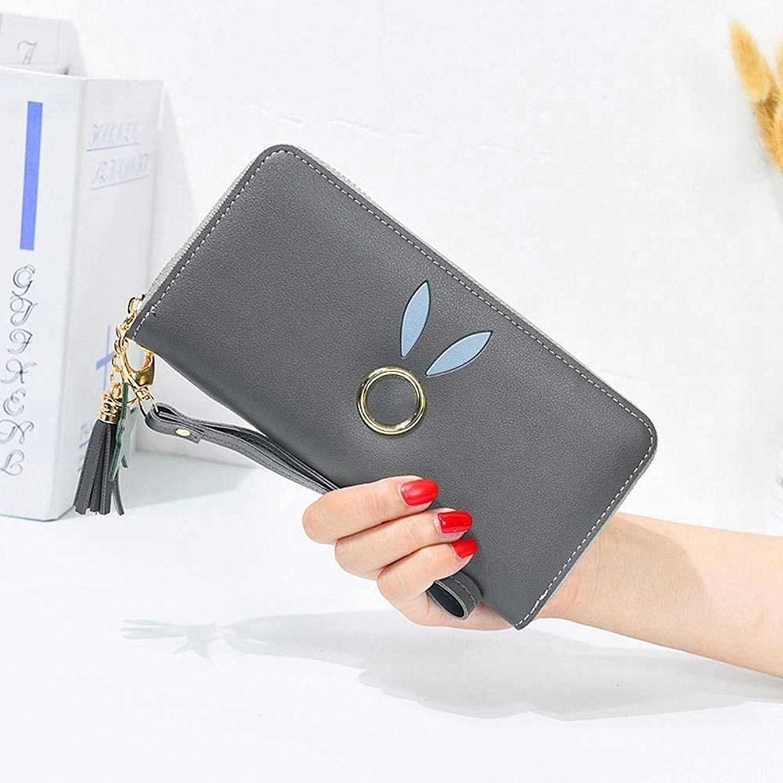 Girls Purse Women's Wallet,Women's Large Wallet Zipper Wallet Bill Clamp Multifunctional Hand Bag PU Leather (color   G)