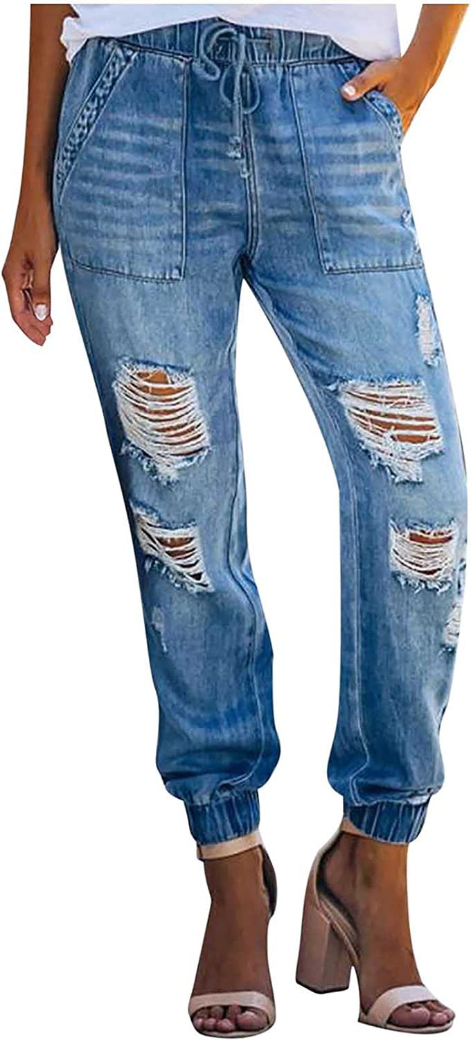 MIVAMIYA Womens Ripped Mom Jeans Drawstring Elastic Waist Jogger Denim Pants Relaxed Fit Stretch Distressed Jeans Pants