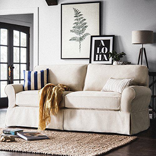 "Amazon Brand – Stone & Beam Carrigan Modern Sofa Couch with Slipcover, 88.5""W, Natural"