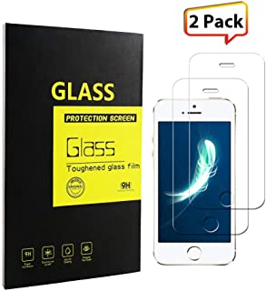 iPhone se/5s/5c/5 Screen Protector Tempered Glass 9H Hardness HD Clear Ballistic Glass Dust-Free, Fingerprint-Free, Bubble Free [2-Pack]