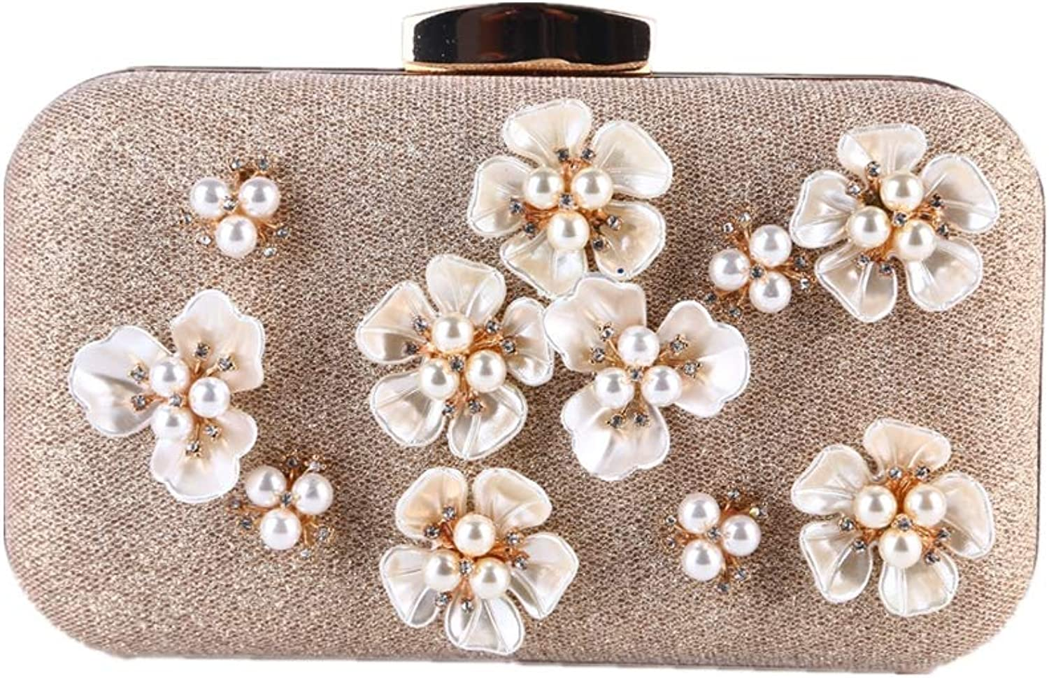 204d92796a6a8 Hand Star Ladies Pearl Pearl Pearl Flower Evening Bag damen es Clutch Bags  Clutches Purses Shoulder Cross Body Pack Hochzeits-Handtaschen B07M8KLZNW  ...