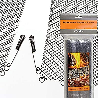 """Enhance the Style of Your Fireplace with a Condar Mesh Screen. Fireplace Mesh Screen Curtain. 19"""" High. Includes 2 Panels, each 24"""" Wide. from Condar, the Fireplace Screen Experts"""