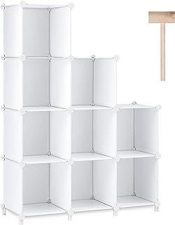 Puroma Cube Storage Organizer 9-Cube Closet Storage Shelves with Rubber Hammer DIY Closet Cabinet Bookshelf Plastic Square...