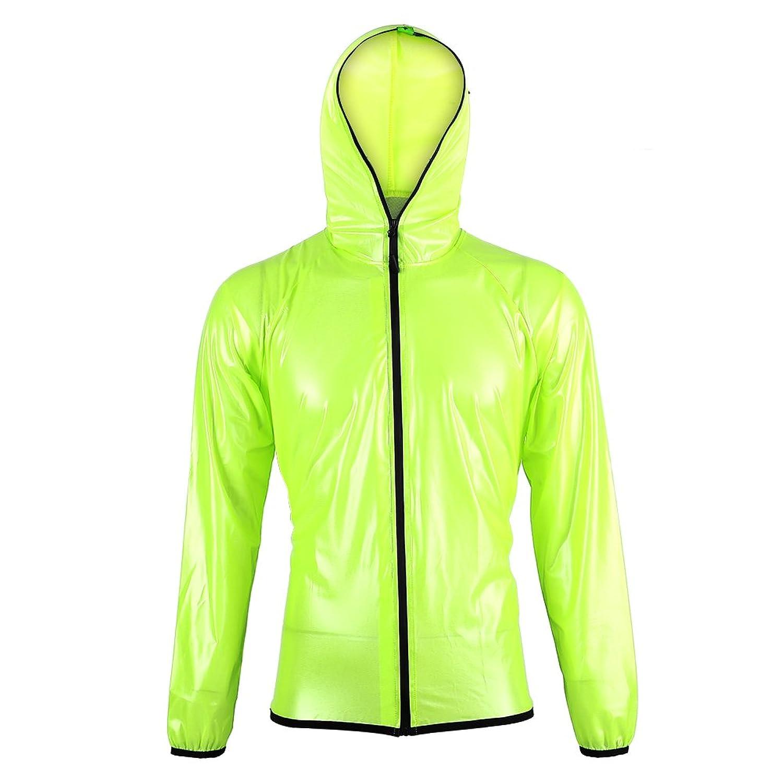 防水レインウェアスーツサイクリングスポーツレインコートパンツ、レインコートポータブルドローストリングレインポンチョ(グリーン)
