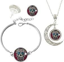 Baoquan Custom Fashion Charm Silver Plated Hollow Crescent Pendant Necklace Stud Earring Bracelet Jewelry Set