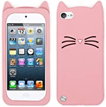 iPod Touch 6 Cat Case, iPod Touch 5 Case for Girl, Cute 3D Cartoon Kitty Meow Whisker Cat Animal Soft Silicone Rubber Protective Phone Case for iPod Touch 5 Generation/iPod Touch 6 Generation (Pink)