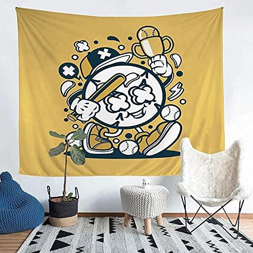 Yhjdcc Tapiz abstracto de béisbol para colgar en la pared, tema deportivo para niños, niñas, adolescentes, decoración de bola, manta de pared, manta de cama de 152 cm
