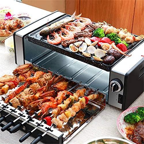 MissZZ Barbecue électrique extérieur et intérieur, Gril à Point Rotatif Automatique à Chauffage Rapide 1600W, Grande capacité Double Couche, Facile à Nettoyer