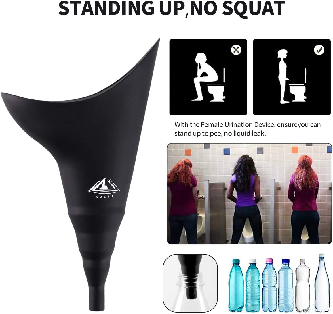 Portable Female Urination Device,Reusable Foldable Silicone Urination Funnel,Female Urinal Allows Women to Pee Standing Up,No-Leaks,Suitable for Outdoor,Traffic Jams-with Carry Bag and Urine Bag