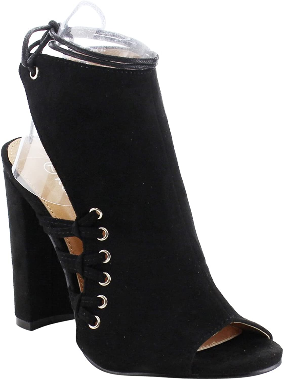 Reneeze AG30 Women's Ankle Wrap Backless Lace up Dress Boots Heels