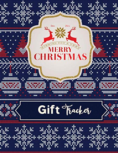 Merry Christmas Gift Tracker: Knitted Christmas Tree Pattern Deep blue Background.Christmas Menus plan,Christmas Day Schedule ,Decorating Ideas, My ... Online Shopping Tracker nand Much more.