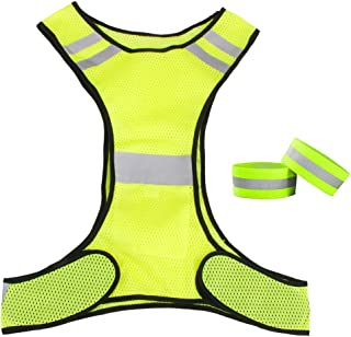 FITYLE Highly Visible Reflective Vest with Hi Vis Bands, Fully Adjustable & Multi-Purpose for Running, Cycling, Traffic Safety, Dog Walking