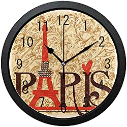 luckboy-zm Modern Minimalist Arabic Numerals Wall Clock-Vintage Paris Eiffel Tower Flower France Love Heart Round Wall Clock Non Ticking Silent Clock Art for Living Room Kitchen Bedroom-10in