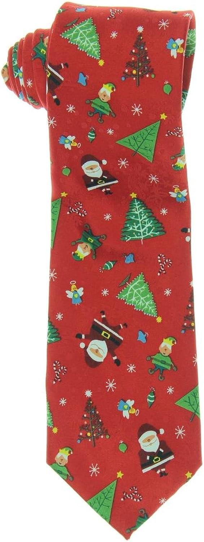 John Ashford Mens Santa Elf Printed Holiday Neck Tie Red O S