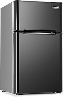 Euhomy Mini Fridge with Freezer, 3.2 Cu.Ft Compact Refrigerator with freezer, 2 Door Mini Fridge with freezer, Upright for...