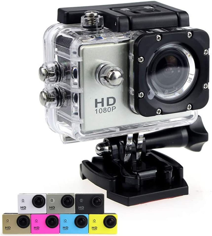 Sports Action Camera 1080P Ultra HD 12MP Underwater Waterproof DV Camcorder 170 Degree Wide Angle and Mounting Accessory Kits (Gray)