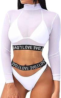 riou Bikini, Bikinis Mujer 2019 Push up Blusa Sexy Traje de baño Dividido Color sólido Bohemio BañAdores con Relleno Sujetador Tops y Braguitas Ropa de Playa vikinis Tallas Grandes riou