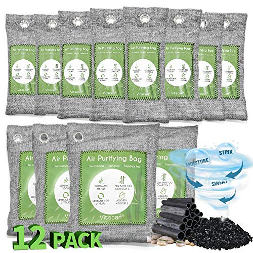 12 Pack Bamboo Charcoal Air Purifying Bag, Activated Charcoal Bags Odor Absorber, Moisture Absorber, Natural Car Air Freshener, Shoe Deodorizer, Odor Eliminators For Home, Pet, Closet (8x50g, 4x200g)