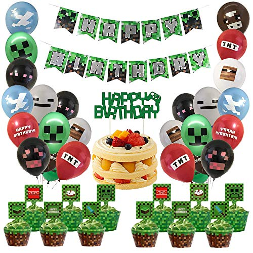 caicainiu Pixel Style Gamer Birthday Party Supplies Miner Crafting Party Supplies Includes Banner Balloons Cake and Cupcake Toppers for Gamer Birthday Party Decor