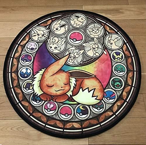 juan Alfombra De La Sala Alfombra De La Puerta Cojines Antideslizantes Pokemon Redondo Mascota Elfa Anime Comics Los Niños Juegan Mat Diámetro 60 Cm