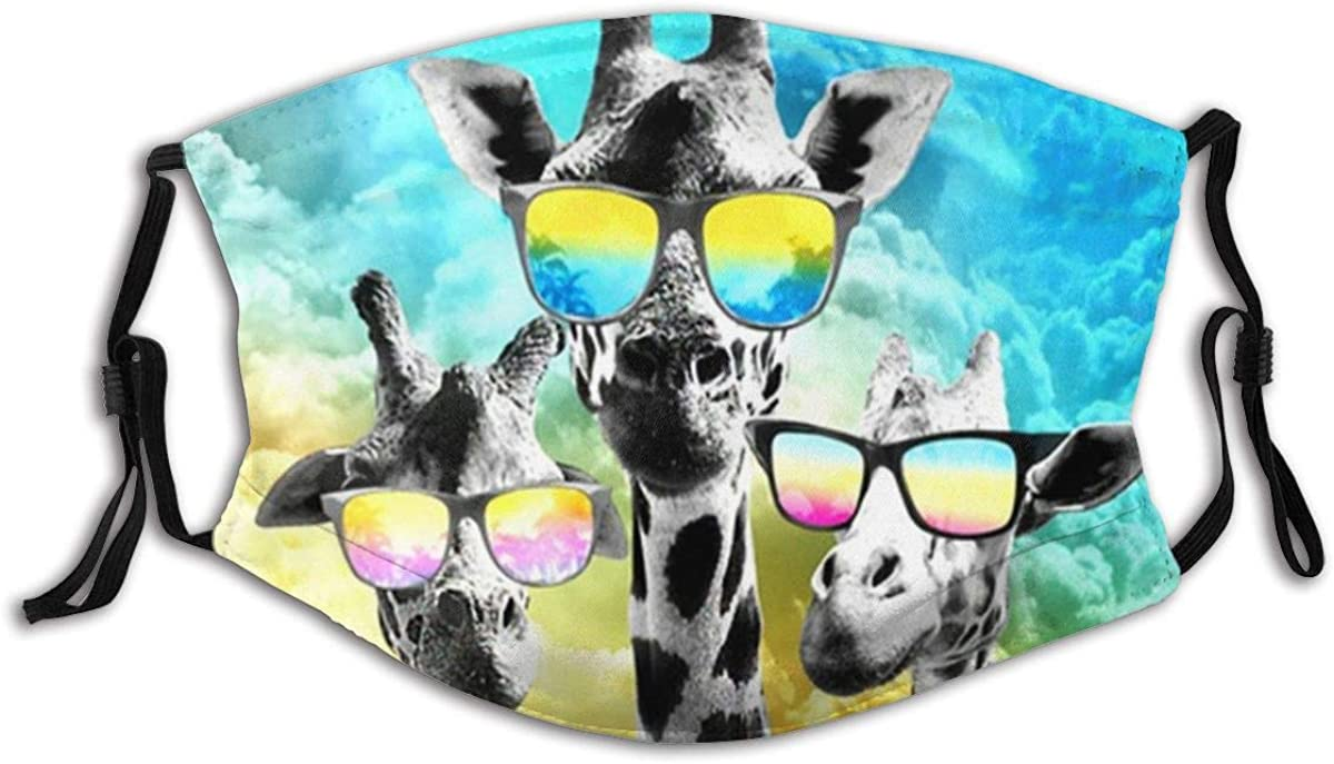 14. Crazy Giraffe Family - Cloth Face Mask With Filter Pocket