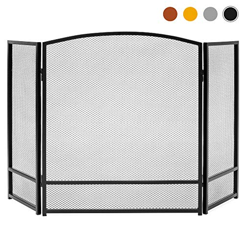 Best Choice Products 3-Panel 47x29in Simple Steel Mesh Fireplace Screen, Spark Guard Gate w/Rustic Worn Finish