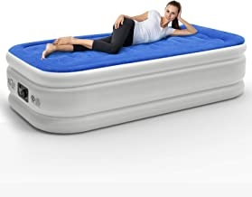HOMEKOKO Twin Air Mattress with Built-in Electric Pump and Pillow, Inflatable Bed Portable Mattress Double High Twin Airbed,Blue