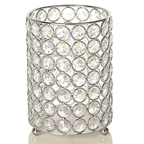 VINCIGANT Kerzenständer Tisch Kristall Kerzenhalter Silber mit 2 M String Licht für Hochzeit Tischdeko