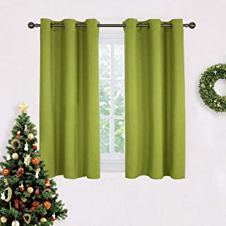 NICETOWN Blackout Curtain Panels for Living Room, Thermal Insulated Solid Grommet Top Blackout Draperies/Drapes for Christmas Window (1 Pair,42 x 45 Inch in Fresh Green)