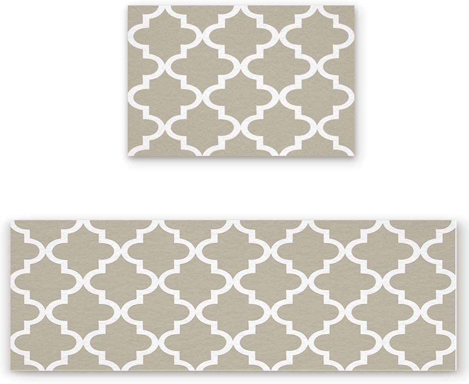 Savannan 2 Piece Non-Slip Kitchen Bathroom Entrance Mat Absorbent Durable Floor Doormat Runner Rug Set - Mgoldccan Tile Quatrefoil Pattern in Grey