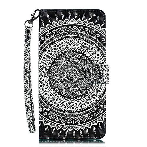 Huawei Mate 20 Pro Hülle, CAXPRO® Leder und TPU Innere Brieftasche Handyhülle, Flip Ledertasche mit Standfunktion & Kartensfach für Huawei Mate 20 Pro, Mandala