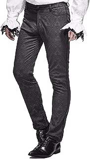 Devil Fashion Mens Trousers Pants Black Brocade Gothic Steampunk Pants wedding pants stage performance trousers