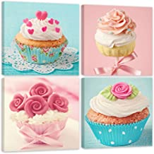 Shuaxin Modern Home Decor Kitchen Wall Art Delicious Cup Cake Paintings on Canvas Home Decor Wall Decals 12*12 X4pcs Framed with Box