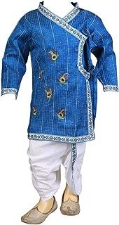 Raksha Bandhan, Janmashtami Special Blue Peacock Feather Embroidery Kurta and Dhoti Pant Set for Kids