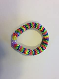 Rainbow Loom Hexafish Style 6 Pin Fishtail Bracelet - Red, Pink, Purple, Green, Yellow, Orange and Blue